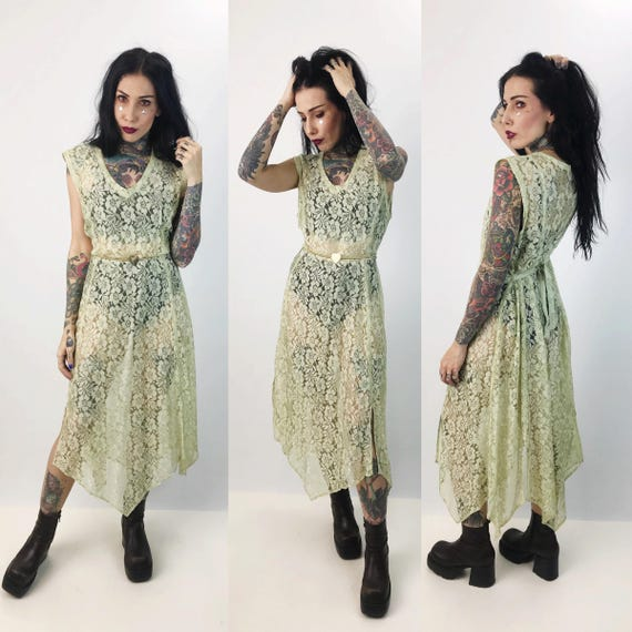 90's Seafoam Green Sheer Lace Midi Layering Dress Medium  - Vintage See Through Sexy Overlay Lace Dress  - Asymmetrical Seapunk Lime Green
