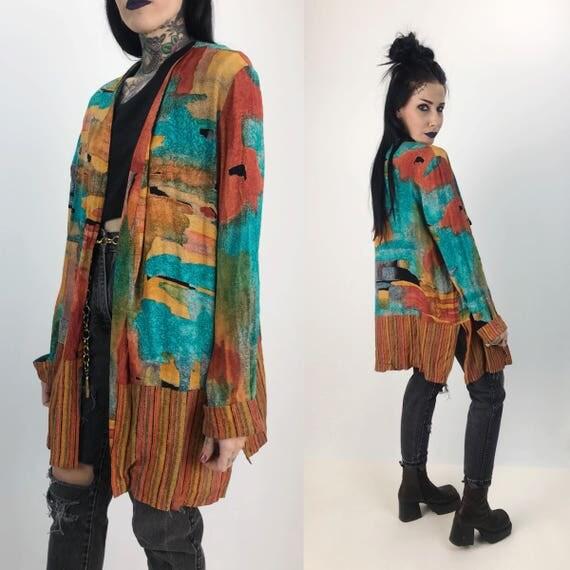 90's Printed Layering Jacket - Long Sleeve Fall Painterly Slinky Printed Layer - Nineties Rayon Blazer Jacket Colorful Printed Layer Rayon