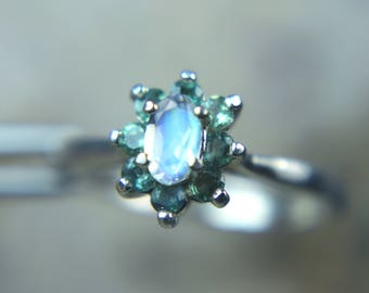 MOONSTONE - Faceted Rainbow Moonstone Sterling Silver Ring with Genuine and Natural Alexandrite Halo! Free USA Shipping!