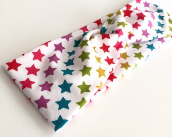 Rainbow Stars Headband, Knot Headband, Stretchy Headband