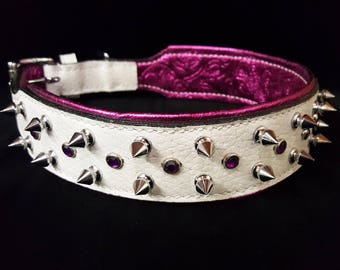 1 Of 1 Prototype White & Pink Bling Spiked Bully Pitbull Handmade Canine Black Leather Dog Collar 22""