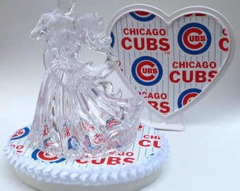 Wedding Cake Topper Chicago Cubs Themed Baseball Clear Couple Dancing Bride Groom First Dance Sports Fans Sporty Pretty Fun Unique w/ Garter