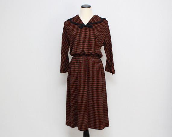 Vintage 1940s Houndstooth Wool Day Dress - Size Medium