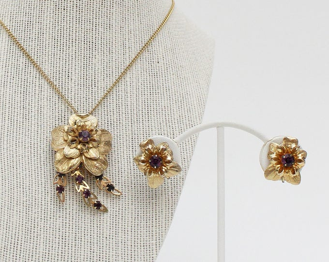 Vintage 1950s Gold & Amethyst Floral Convertible Pendant Brooch and Earrings