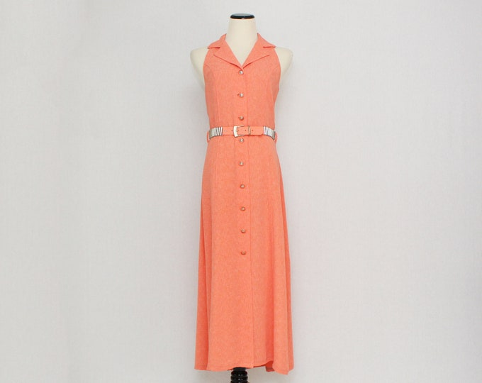 Vintage 1980s Coral Shirt Dress by Joseph Ribkoff - Size Small