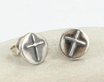 Cross sterling silver earrings - Tiny dainty silver studs - Cross Earrings - Minimalist earrings - Sterling silver Oxidized
