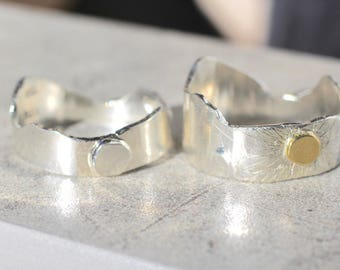 Sun and Moon Mountain Band - Recycled Sterling Silver and 24k Gold Ring