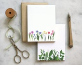 NEW ITEM! Botanical Note Pads ~ small size ~ wildflowers ~ lily of the valley ~ tulips ~ iris ~ daffodil ~ memo pad ~  floral stationery