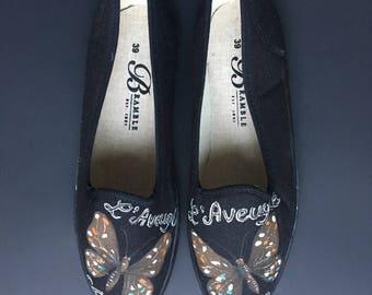 Hand Painted Canvas Shoes size US 8.5-9  / EU 39 Black Butterfly Motif