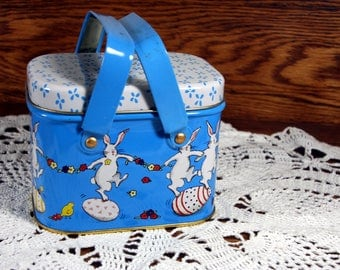 Easter tin basket with handled lid-dancing bunny rabbits-Easter eggs-baby blue