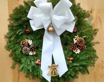 White Deluxe Angel Christmas balsam wreath Made in Maine