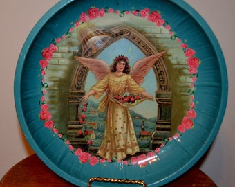 Victorian Angel Decorative Tray Tin Bowl