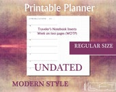 RS undated Week on two pages printable diary insert for Traveler's Notebook