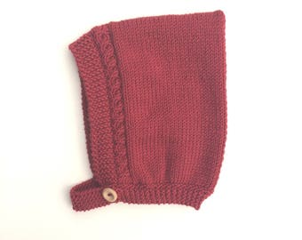 Cable Knit Pixie Bonnet in Red - Size 3-6 months
