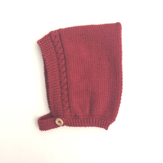 Cable Knit Pixie Bonnet in Red - Size 0-6 months
