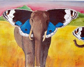 elephant Butterfly canvas