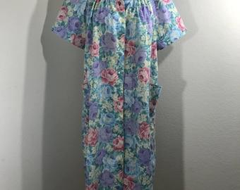VTG 70s Leisure Life Floral 100% Cotton Housecoat Robe Rockabilly SZ M