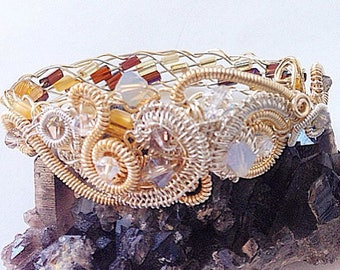 Cosmic Swirl Wire Bead Swarovski Fitted Bracelet