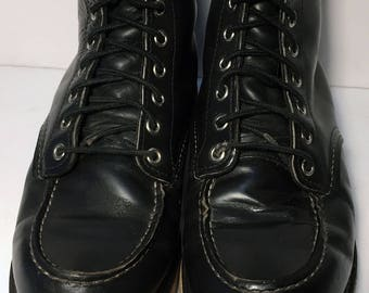 Red Wing® Classic Moc Black Chrome Leather Work boots Men's Size 7.5 EE