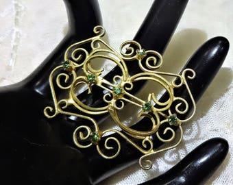 Vintage Green Rhinstone Gold Tone Filigree Brooch