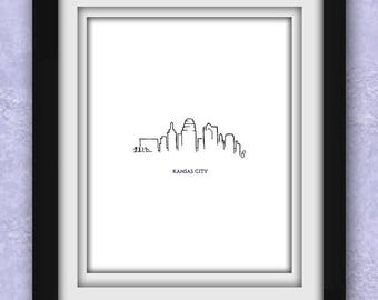 Kansas City Skyline Minimalist Print (Sale)