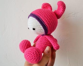 Cuddly Little Rabbit crochet fuschia and purple