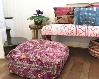 Moroccan Pouf / Moroccan Boujaad Pouf / Vintage Moroccan Floor Pouf / Moroccan Floor Cushion / Kilim Pouf / Beni Ourain Pouf