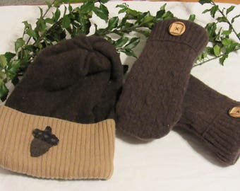 Recycled Sweater Mittens and Hat Set