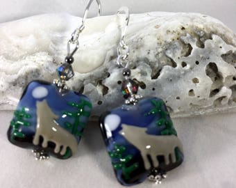 WOLF and FULL MOON Earrings