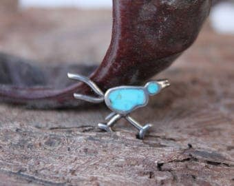 Vintage | Native American | Turquoise | Inlay | Navajo | Road Runner | Pin Brooch | 925 Sterling | Silver 2.1 gm