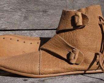 Viking 2 Toggle Boots Mens Size 12 Natural Viking Shoes, Medieval Ankle Shoes, Renaissance Shoes, Costume Shoes, Reenactment shoes, LARP