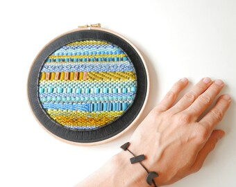 "Hand embroidered hoop with weave and  polymer clay - one of a kind 18.5cm (7.28"")"