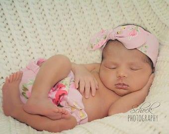 Shabby Chic Pink Floral Diaper Cover Cake Smash Newborn Photo Prop OPTIONAL Headband