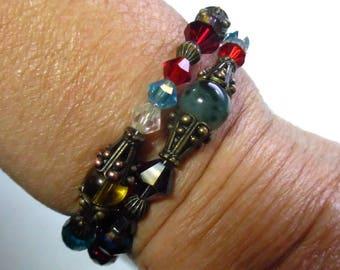 vintage style antique brass with semi-precious gemstones