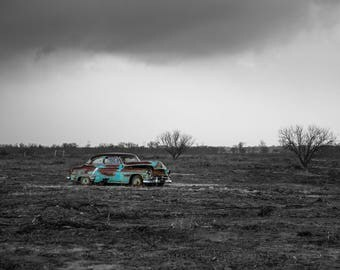classic car print old car in field rusty car photo classic car picture