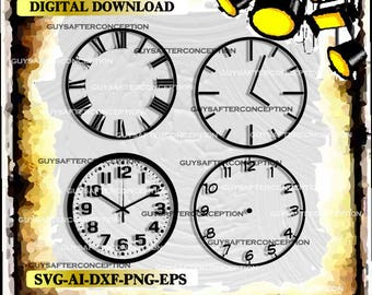 Four Clocks Vector Images SVG Files Digital Cutting Files  Ai - Eps - PNG - DXF - Svg