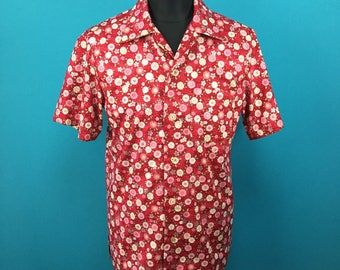 Cotton Kimono Hawaiian shirt, yukata fabric, Men, US size S
