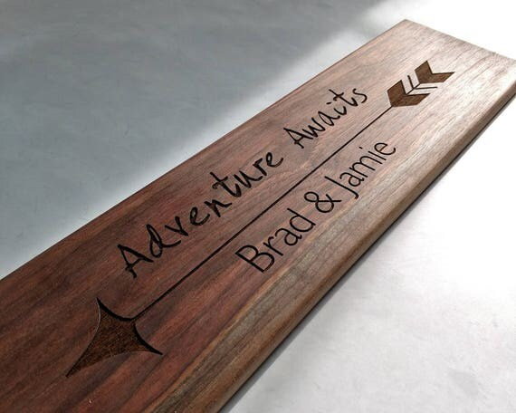 26 inch- ADVENTURE AWAITS Personalized Wooden Serving Bread Board in Walnut or Maple