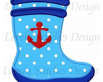 Anchor Boot Applique Machine Embroidery Design NO:0628
