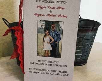 Kraft Wedding Program Book with Red lace