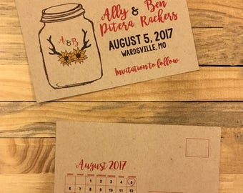 Save the Date postcards with sunflowers and antlers