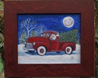 Santa in a Pick Up Truck Acrylic Holiday Print, Winter Scene Art, Christmas Decor,Christmas Tree Decor,Santa Winter Art Print,Winter Artwork