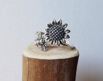 The Bee and the Sunflower sterling silver adjustable ring