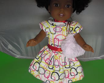 "14"" Patterned Doll Dress and Purse Set"
