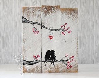 Engagement Gift Wood Signs Personalized Reclaimed Wood Art Love Bird Rustic Wedding Gift for Couple 5th Anniversary Gift Wood Wall Art Love