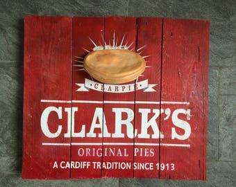 Clarke's pie wooden retro sign
