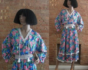 December Sale 1980s Diane Freis floral and polka dot dress | 80's Designer Boho Gypsy