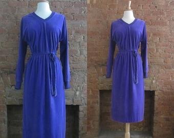 December Sale 1970s Jonathan Logan purple velour dress • Violette