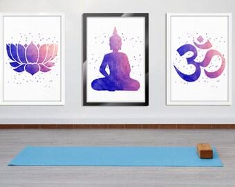 Watercolor Art Print Set, Lotus Flower Art, Buddha Art, Om Symbol Art, Meditation Art, New Age Wall Decor, Set of 3 Prints Yoga Studio Decor