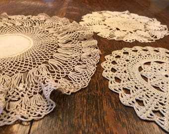 Hand Crochet Cream Cotton Round Doilies Snowflake Floral Wedding Coasters Sewing Appliqués